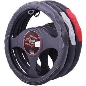 Nevada Steering Wheel Cover - Black/Grey [Leather]