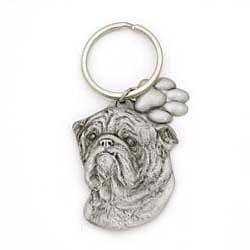 Key Companions Solid Fine Pewter Bulldog with Paw Keychain