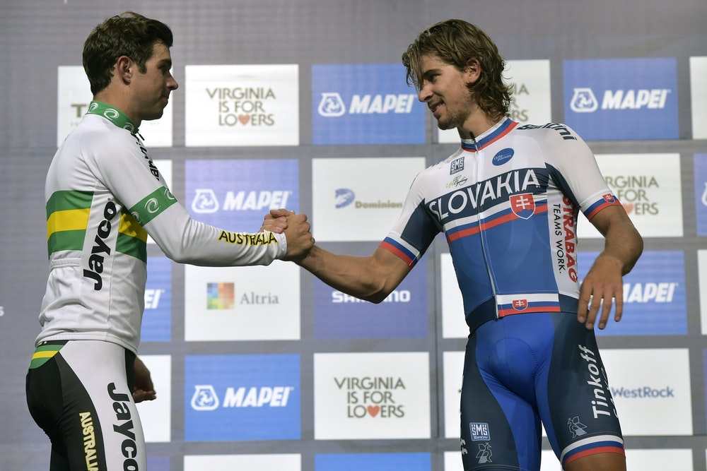 Sagan and Matthews on the podium