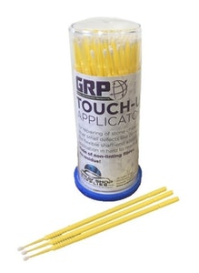 GRP Touch Up Tips YELLOW 1.5mm Paint Micro Brush - 100 Per Dispenser