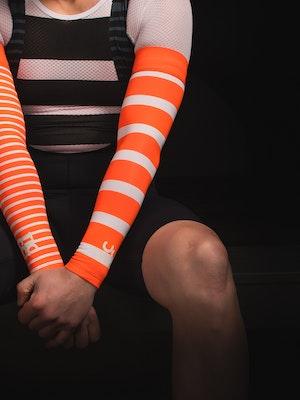 TIC CC Arm warmers stripes Neon orange