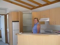 Leanne Murphy of Marina View Hastings Vic enjoys the kitchen in this Rainbow built unit