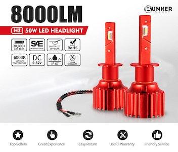 Bunker Indust H3 LED Headlight Kit 50W 8000LM Globe Bulbs White Beam High/Low