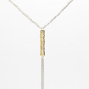 I Dream of Silver Plaited Chain with Tassel and Gold-Coloured Bar Necklace