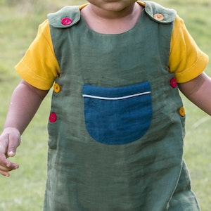 Little Green Radicals Olive Day After Day Adventure Dungarees