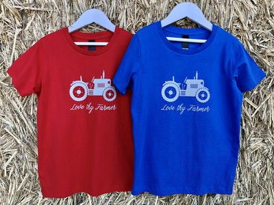 Kids' Short Sleeve Tractor T-Shirt in Red/Royal Blue with Sand Printing