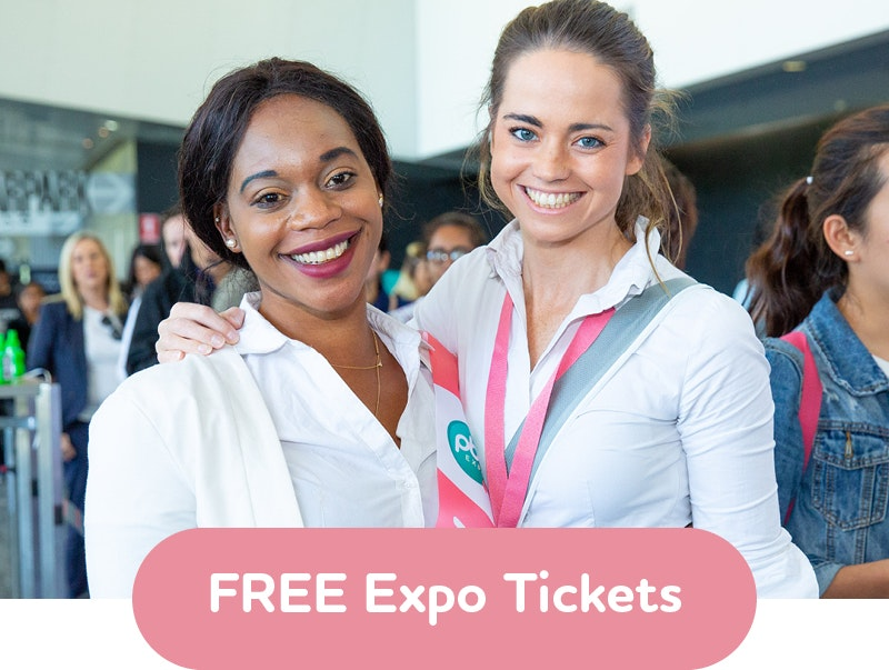 Image of two girls working at the expo with text that reads Register for FREE Expo Tickets
