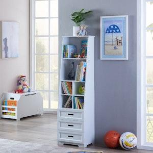 All 4 Kids Candice White Bookcase Book Shelf Storage Unit