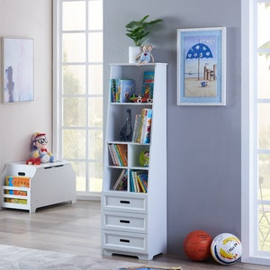All 4 Kids Candice White Bookcase Book Shelf Storage Unit
