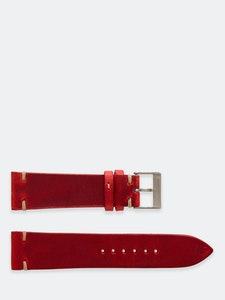 Time+Tide Watches  Red + Cream Stitch Vintage Leather Watch Strap