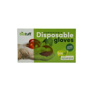 Biotuff 200 Biodegradable and Compostable Disposable kitchen gloves Large Size