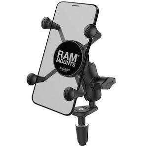 RAM-B-176-A-UN7U :: RAM Fork Stem Mount With Short Double Socket Arm & Universal X-Grip Phone Cradle