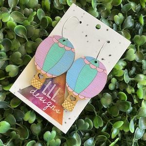 Hot Air Balloon Earrings. Hand Painted Pastel Rainbow Hot Air Balloon Hoop Dangle Earrings.