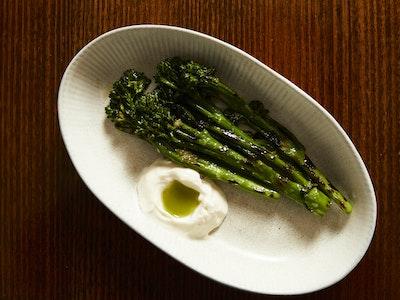 Grilled Broccolini W/ Soymilk Emulsion & Green Chilli Dressing
