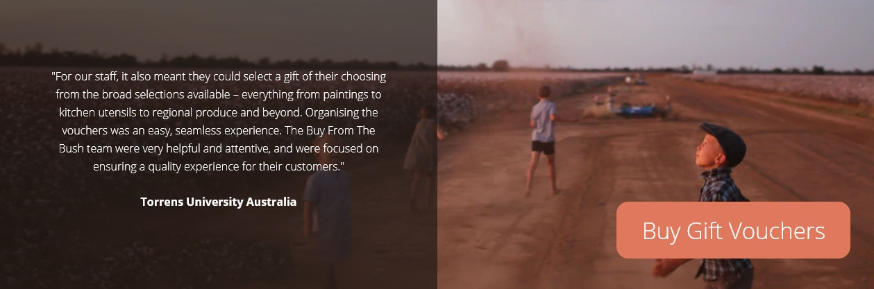kids playing in a cotton crop with testimonial about gift vouchers from Buy From The Bush