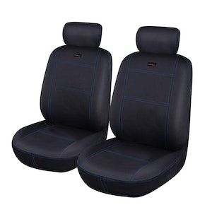 Universal Neoprene Front Seat Covers | Black/Blue Stitching