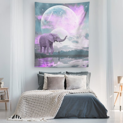 """Art Of A Kind Elephant Loyalty Mystical Wall Tapestry - 80x68"""""""