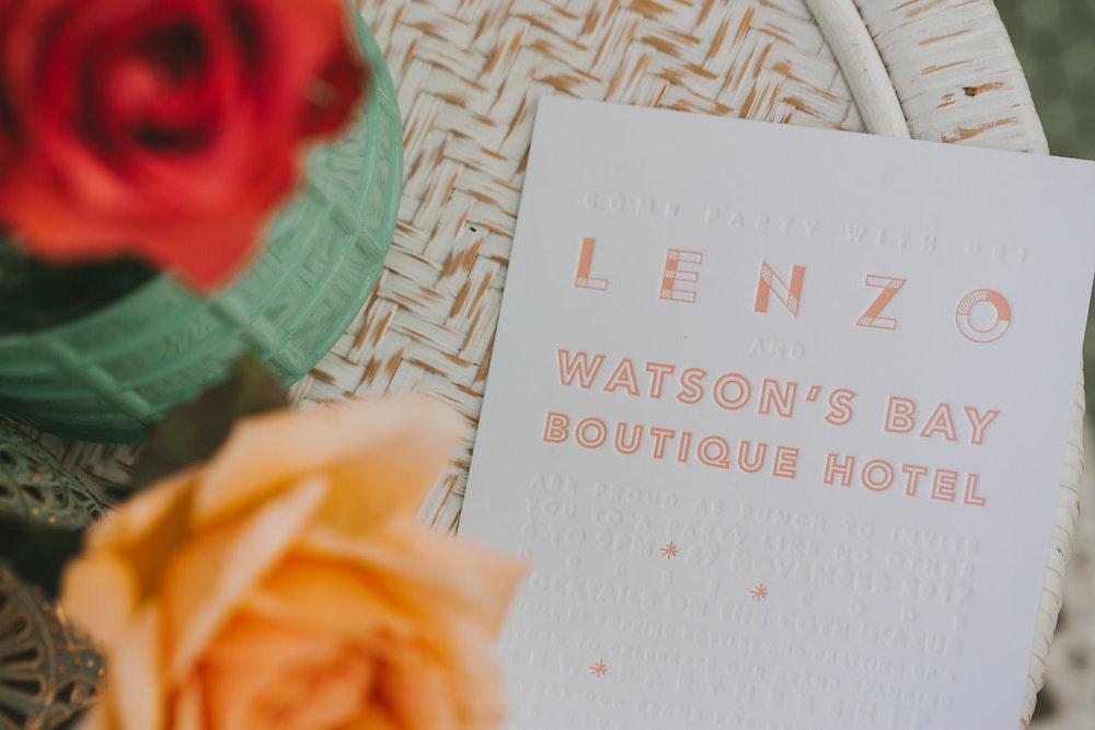 LENZO Sydney 2018 Launch Party Corporate Stationery