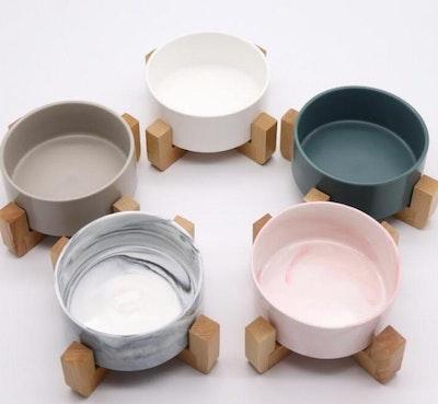 Ceramic Pet Bowls With Wooden Stand | Daniel's Pet Emporium