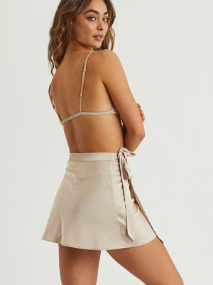 Goldie Satin Wrap Skirt - Silver