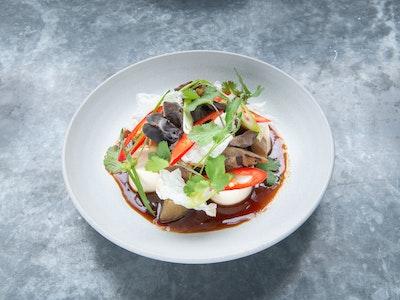 Braised silken tofu, smoked eggplant & fungus