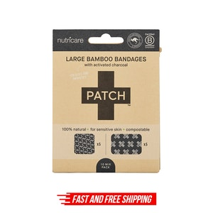 PATCH Activated Charcoal Bamboo Bandages - Large Square and Rectangles - 10 pack