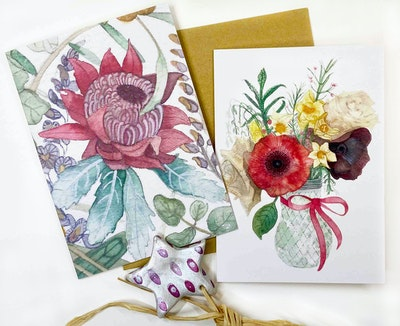 Holly & Bud Gift pack of two greeting cards and hand-painted porcelain ornament