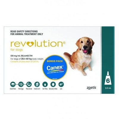 Revolution Green Flea & Worming Treatment With Canex Intestinal Wormer 20-40kg Dog 6 Pack