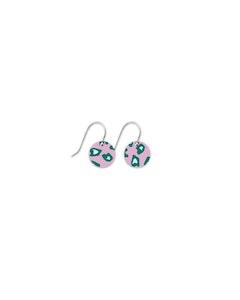 Moe Moe Green Lined Leopard Small Circle Drop Earrings