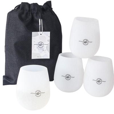The Scandi Baby Co UNBREAKABLE Silicone Wine Glasses 4 Pack with handy travel bag.  2021