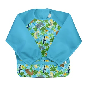 green sprouts Snap & Go Easy-wear Long Sleeve Bib-Aqua Sloth Jungle -2T/4T