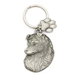 Key Companions Solid Fine Pewter Shetland Sheepdog with Paw Keychain