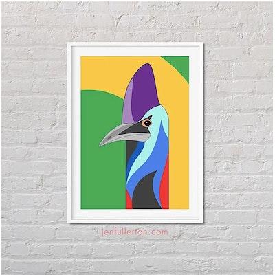 Jen Fullerton Art and Design Southern Cassowary – native Australian bird art