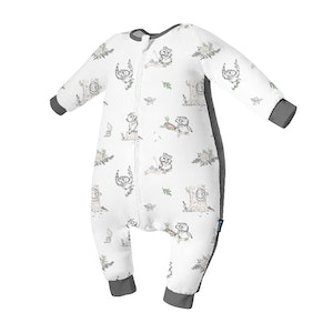 Domiamia  Silky Bamboo Long Sleeve Sleepsuit with Stretchy Side Panel- Bird Time (1.0 Tog)