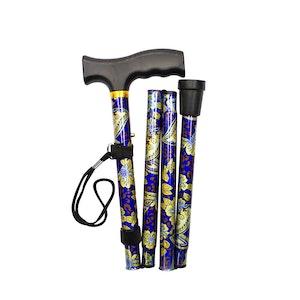 """Safe Home Care Adjustable Folding Metal Walking Stick Floral 33-37"""" Blue Gold"""