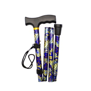 "Safe Home Care Adjustable Folding Metal Walking Stick Floral 33-37"" Blue Gold"