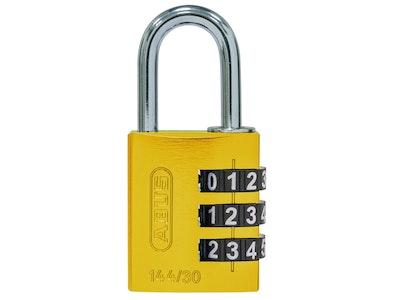ABUS 144/30 3-wheel combination padlock with aluminium body in yellow
