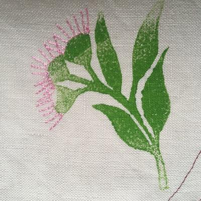 Julevidge Linen scarf with a koala in a gum tree design