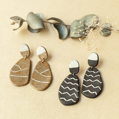 Sand and Fire Designs Ceramic nature-inspired dangle earrings
