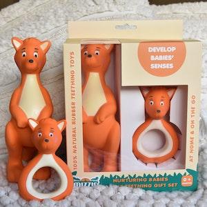 Mizzie the Kangaroo Nurturing Babies Mizzie Teething Gift Set - 100% Natural Rubber Teethers Set
