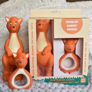 Mizzie the Kangaroo Nurturing Babies Mizzie Teething Gift Set - 100% Natural Rubber Teethers Set