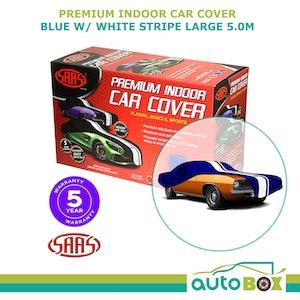 SAAS Premium Indoor Classic Car Cover Large 5.0M Blue with White Stripe