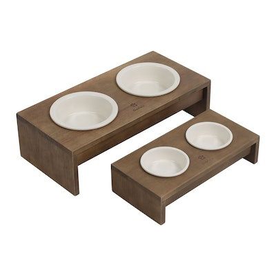Charlie's Raised Wooden Dual Pet Feeder with Porcelain Bowls - Natural Brown Feeder