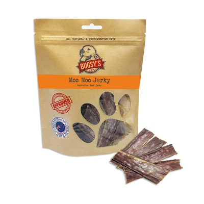 Bugsy's Pet Supplies HEALTHY SNACKS   Dehydrated Australian Beef Jerky Strips
