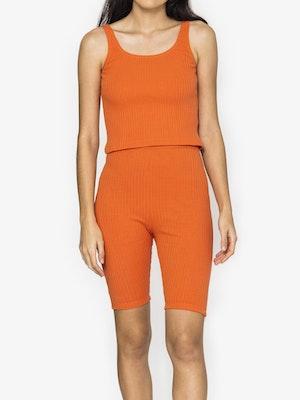 Amber Rib Bike Shorts - Rust
