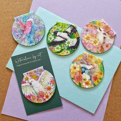 Watercolour by Cat Australian Birds & Native Floral Magnetic Bookmark Set 2021