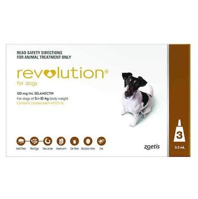 Revolution Brown Flea & Worming Treatment 5-10kg Dog 3 Pack