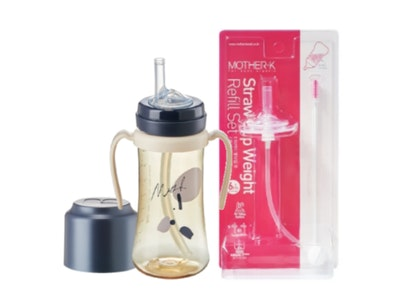 Mother-K PPSU Straw Bottle 300mL (Navy) & Weight Refill Set (with brush)