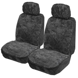 Sheepskin Seat Covers 14Mm (Pair) Airbag Safe | Charcoal