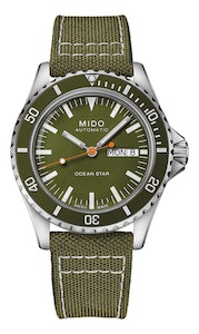 Mido Ocean Star Tribute - Stainless Steel - Green Fabric Strap